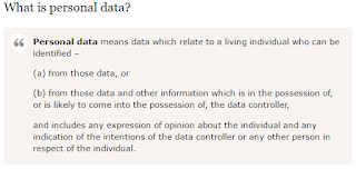 A paragraph defining personal data